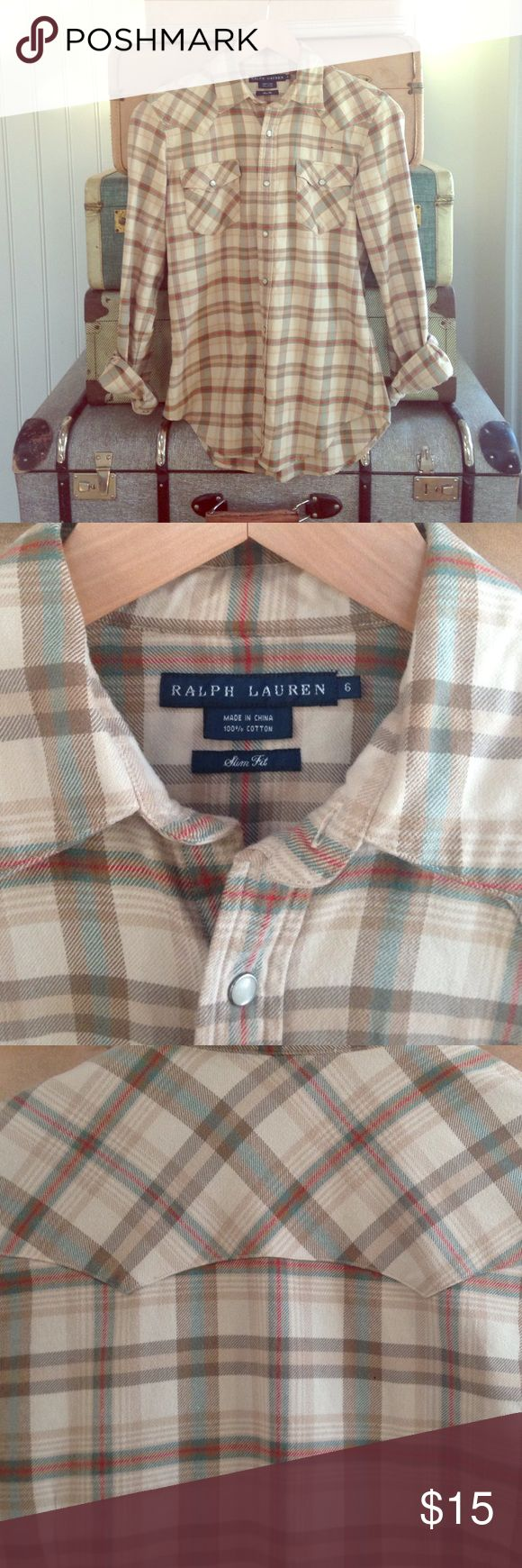 Ralph Lauren flannel, slim fit, khaki plaid Ralph Lauren slim fit , snap front plaid flannel. Great details, nice fit- fitted but still easy to wear. Ralph Lauren Tops Button Down Shirts