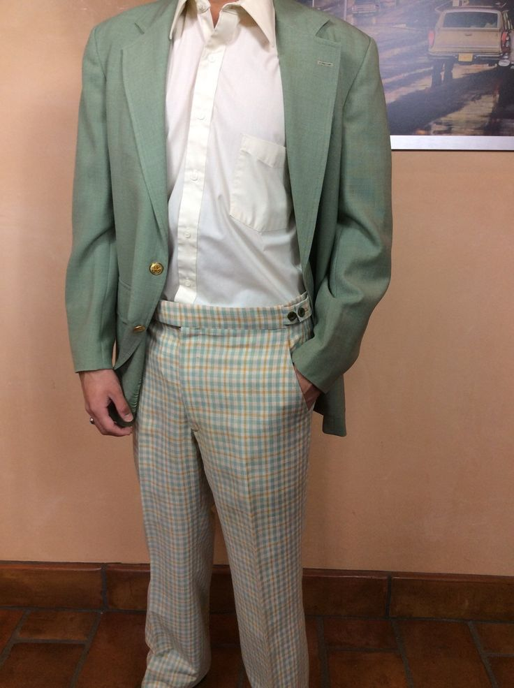 Wyatt Brothers Suit Funky Green Sport Coat with Checkered Golf Pants Perfect for 1970's costume Made in USA union label by somewhereintheattic on Etsy