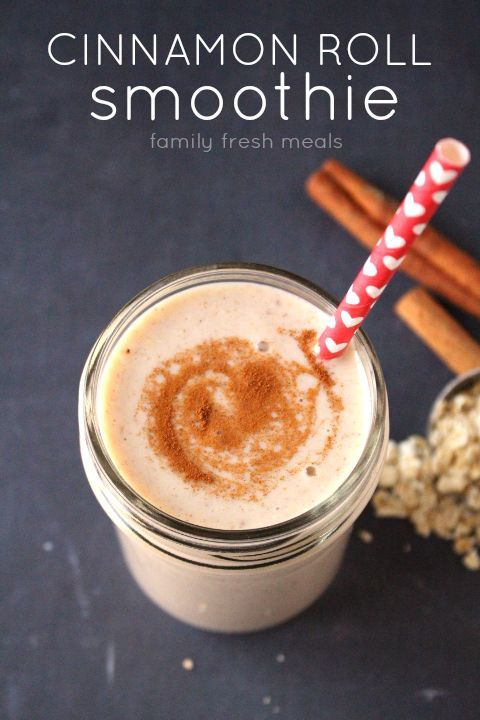 Cinnamon Roll Smoothie is great! Just imagine taking all the sweet, sticky, spicy indulgence of a fresh-baked cinnamon roll and cramming it into a glass.