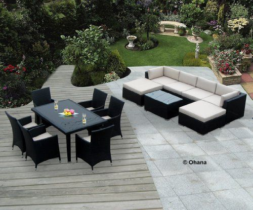 """Genuine Ohana Outdoor Sectional Sofa and Dining Wicker Patio Furniture Set (14 pc set) with Free Patio Cover by Ohana Collection. Save 44 Off!. $2799.00. Sofa 7pcs set includes 2 Corner Sofas + 2 Middle Sofas + 1 Coffee Table + 2 Ottomans with BEIGE CUSHION. Curbside delivery with signature required. All Weather Wicker 7pcs sectional sofa set plus 7 pcs dining set. Dining set includes 6 chairs.  Table Dimension:60"""" x 38"""" x 28"""" tall ( beige cushions ). Factory Direct Price (MSRP ..."""