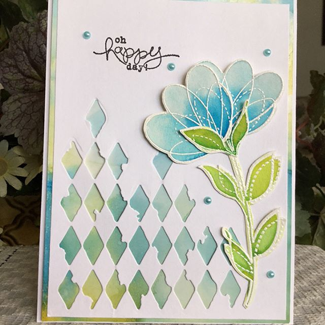 Day 9 #thedailymarker30day Coloring Challenge Made some alcohol ink backgrounds and watercolored some #simonsaysstamp Spring Flowers to pop on top. Used #sizzix corner dies that I recently got. That was fun!  And easy-peasey.