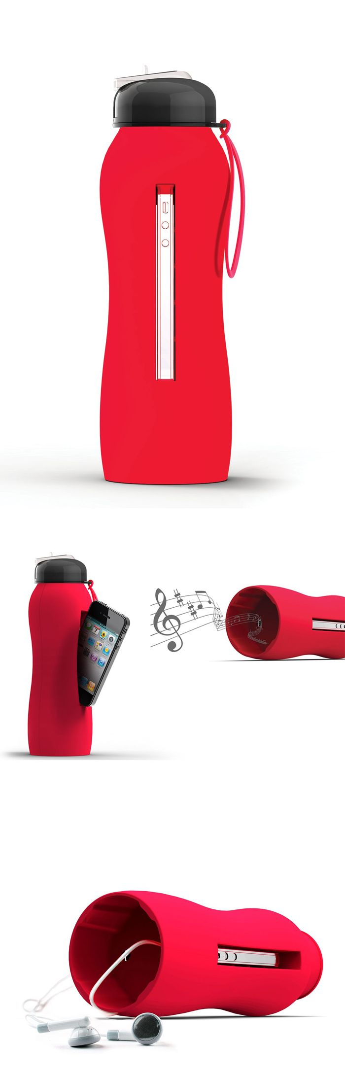 Water bottle that doubles as an amp for your iPhone