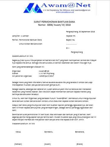 contoh surat permohonan bantuan dana  beasiswa dan