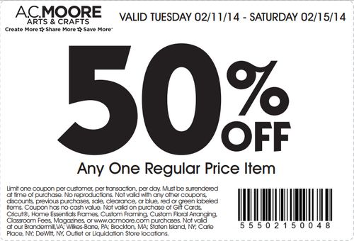 Get 50 percent off one regular price item at AC Moore with coupon through February 15. See AC Moore coupons here: http://www.bestfreestuffguide.com/Free_AC_Moore_Coupons