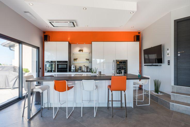 Ilot cuisine Orange Lube Linda Les cuisines d'arno