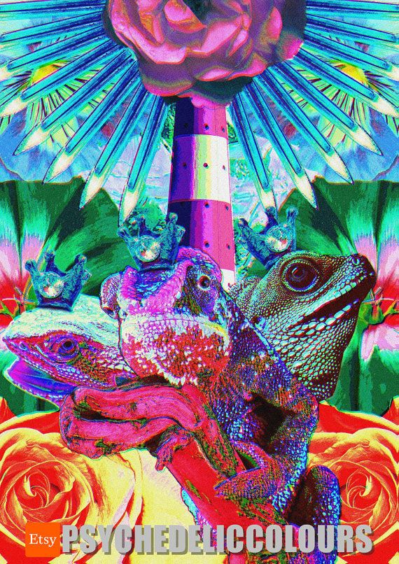Lizard Kings Dex, Vex, and Nex - the Council of Creativity - Printable Psychedelic Poster!  Oh, ok. So youve lacked inspiration lately? Felt completely out of creative energy? Ok, noted. I think that I have the right medicine for you. I think that you need psychedelic poster of digital Lizard Kings that form the Council of Creativity. Oh, youve never heard of them before? This is the best drug that cures boredom and stagnation. And its risk free! Just print this digital poster of Dex, Vex…