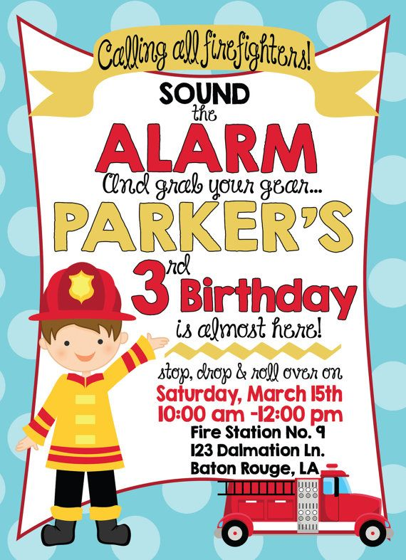 Best 25 Fireman party ideas – Fire Engine Party Invitations