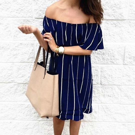 Striped Off The Shoulder Flounce Accent Shift Dress- Cute summer look with our 'Navy Pier Dress' -uoionline.com