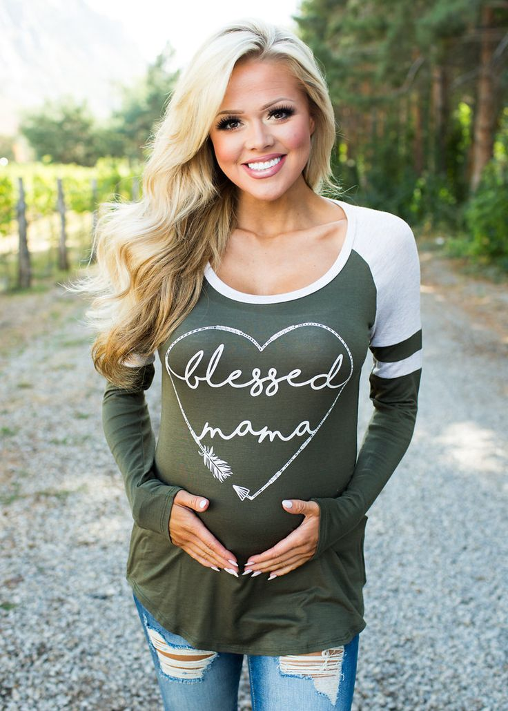 Blessed Mama Long Sleeve Top Olive/Oat - Modern Vintage Boutique