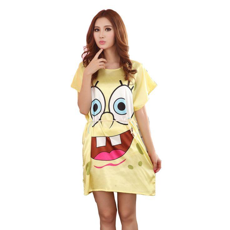 Sponge Bob Women Nightgown Printed,Yellow Girls Sleepwear,New Design Summer Ladies Nightdress,Lounge Apparel Silk Nightwear