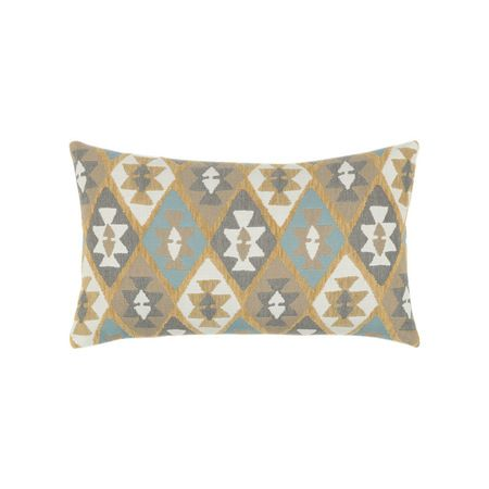 """Southwestern goes chic in BOXHILL's Canyon Diamond Sky Lumbar Outdoor Pillow (12"""" x 20""""). This intriguing diamond design is set in a beautiful palette of blue, grey, and gold -- charming in every way! The 100% solution-dyed acrylic is extremely resilient against even the most intense summer sun. See more at www.shopboxhill.com"""