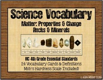 Perfect for pocket charts!  These are vocabulary cards to use when teaching Rocks and Minerals. I made these for my 4th Grade Essential Standards - Matter: Properties and Change - Rocks & Minerals Unit. You can use these for any ROCKS & MINERALS unit you teach!   There are 24 vocabulary words with definitions included.  Cut and laminate to use year after year! http://www.teacherspayteachers.com/Store/Kim-Miller-24