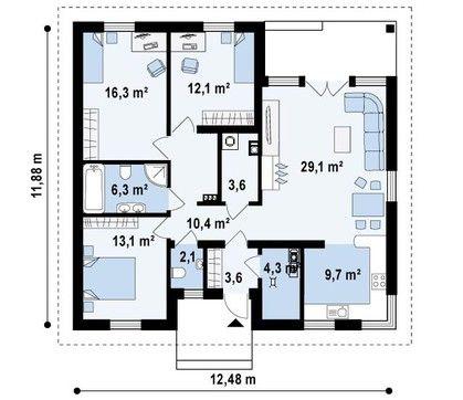 Проект одноэтажного дома с угловым окном в кухне | DOM4M.com.ua