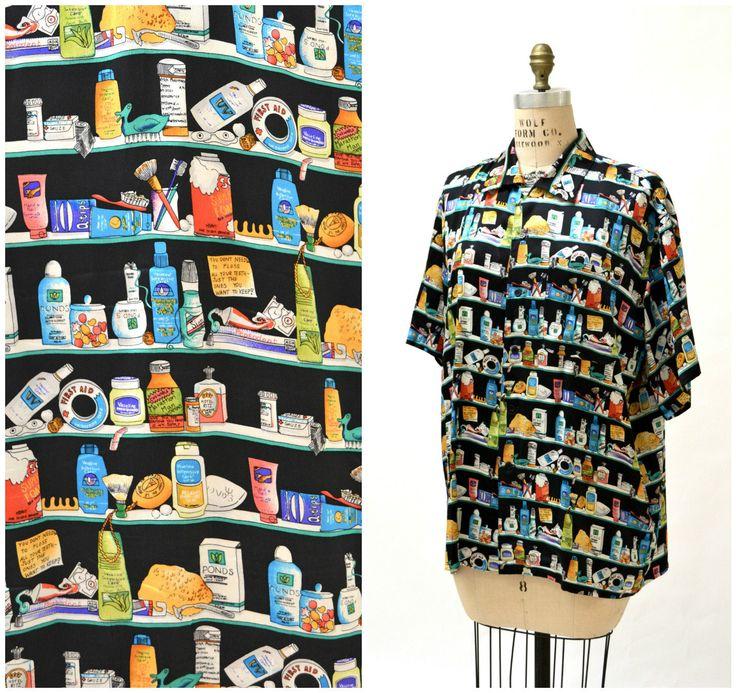 90s Vintage Silk Shirt Pop Art Nicole Miller Silk Shirt Medicine Cabinet  Print Size Medium Large