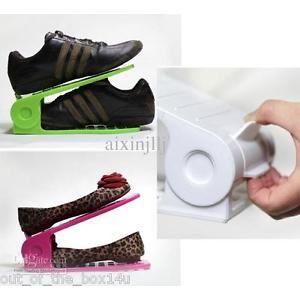 2pc Adjustable shoe stand footware organiser sandles slippers heels rack cabinet