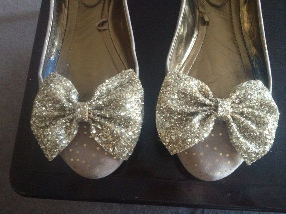 Gold glitter bow shoe clip  by LexyLuxDesign on Etsy, £10.00