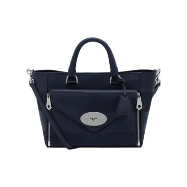 Mulberry Rainbow - Small Willow Tote in Midnight Blue Silky Classic Calf & Nubuck Stripe