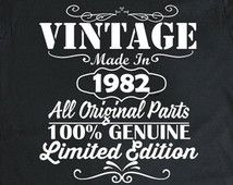 34 ° compleanno regalo, Vintage, Nato nel 1982, camicia di compleanno, regalo, idee, tshirt, per uomini e donne, camicie, personalizzato qualsiasi anno