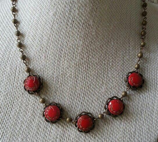 Vintage glass button necklace