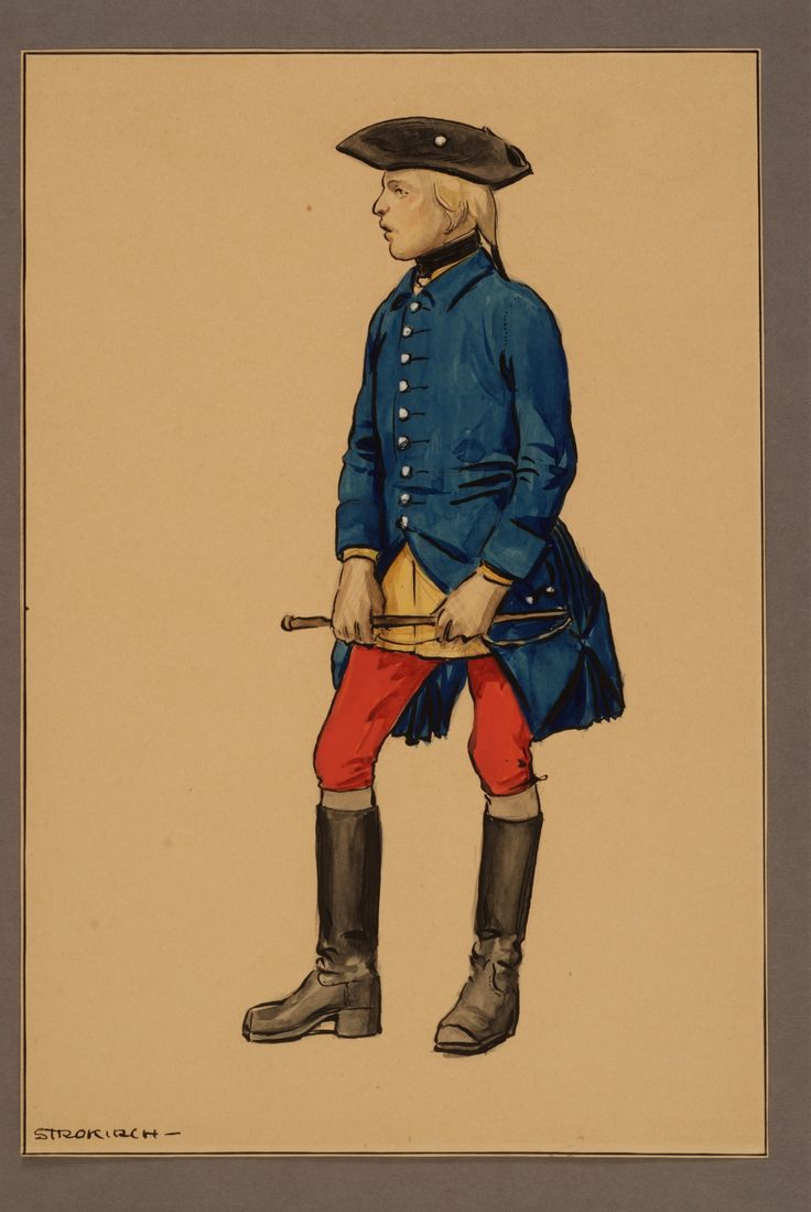 Trossdräng at Västgöta regiment of horse 1761 by Einar von Strokirch