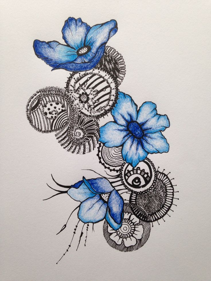 Floral blue doodle