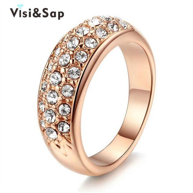 Visisap Rose Gold цвет Круглые кольца обручальные кольца мода Ювелирные изделия роскошные Кольца для женщин кубический цирконий Аксессуары V18KR007