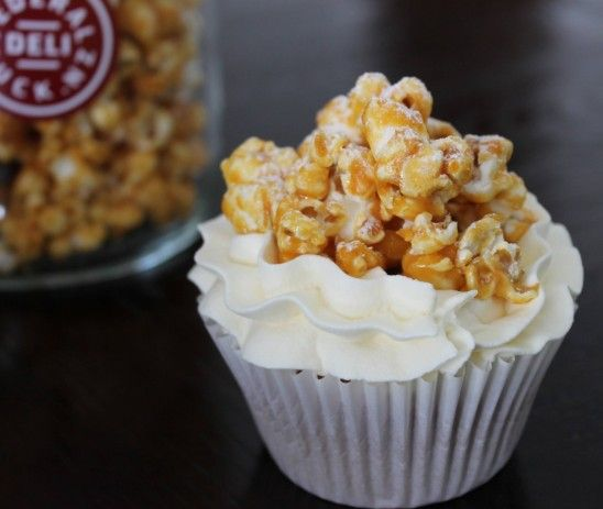 Cinnamon Espresso Cupcakes, topped with Caramelised Popcorn