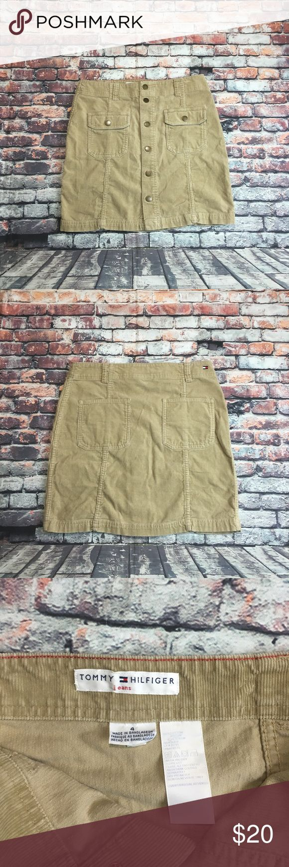 Tommy Hilfiger Corduroy Mini Skirt Women's Size 4 Preowned Women's Tommy Hilfiger Corduroy Mini Skirt Women's Size 4 it has the logo button down two back pockets tommy logo on right back color Khaki 100% Cotton Nonsmoking Home perfect condition see pictures for measurements!!! Tommy Hilfiger Skirts Mini