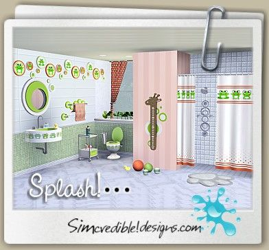 Simcredible designs 3 top quality content for sims games splash kids bathroom set the - Bathroom design games ...