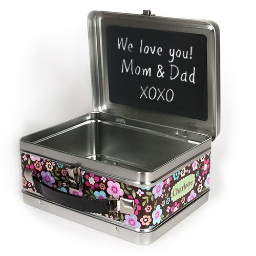 All-A-Flutter-Butterflies Personalized Lunch Box with chalk board message space