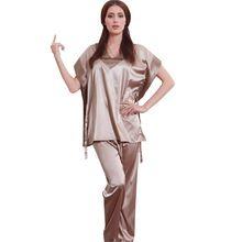 Hot Mulheres Moda Pijamas 2016 Pijama de Cetim De Manga Curta Conjuntos de Pijama de Seda Pijamas para as mulheres 10167(China (Mainland))