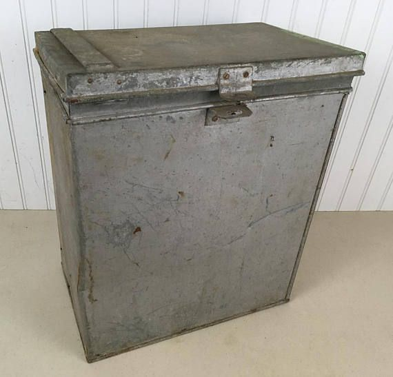 Vintage 1940s Metal Ballot Box  Election Ballot Box