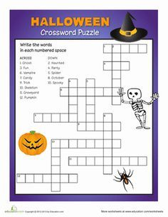 a halloween crossword puzzle gets your child to practice spelling and vocabulary in a fun way - Halloween Crossword Puzzles With Answers