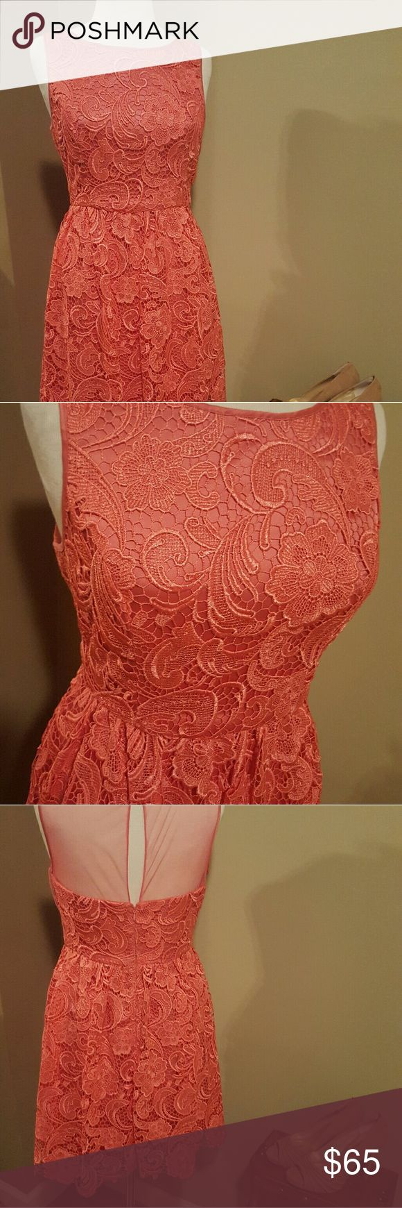 Adrianna Papell Coral Lace Dress Adrianna Papell Coral Lace Dress, size 8. Worn twice. Adrianna Papell Dresses Wedding