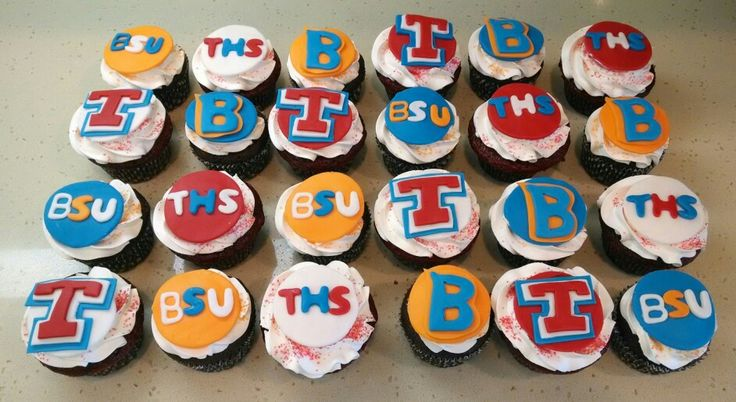 Tesoro High School and Boise State University cupcakes for Devyn! Chocolate and red velvet cake filled with chocolate and vanilla.