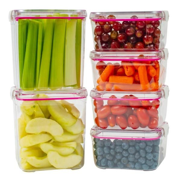 Visto Cube Tritan Copolyester Food Storage Containers With Lids Variety 6 Pack 1614 The Home Depot Food Storage Containers Food Storage Storage Containers