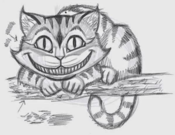 how to draw the cheshire cat smile step by step