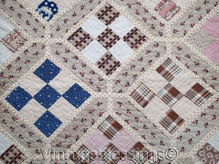 "Pre Civil War ANTIQUE 1830-1860 Garden Maze QUILT 84"" x 76"""