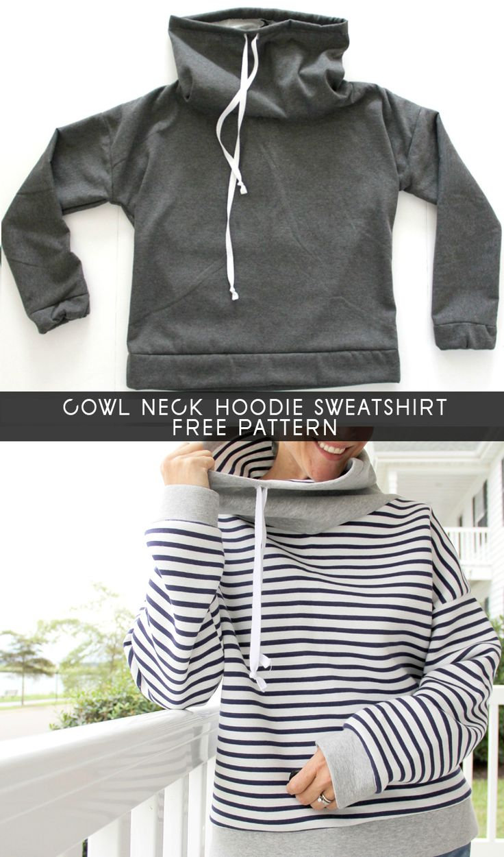 How to sew a Cowl Neck Hoodie Sweatshirt *(ADD A FRONT POCKET)