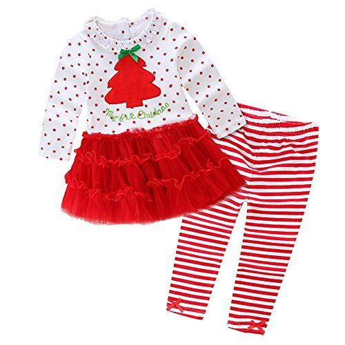 7e7cb9dbc0c7 Kidsa 15T Baby Little Girls Christmas Long Sleeve Ruffles Tutu Dresses  Striped Leggings Pants Outfits Set     Check out this great product.