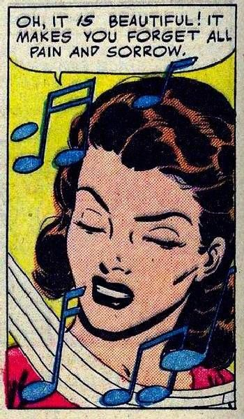 """Comic Girls say.. """"Oh, it is beautiful ! it makes you forget all pain and sorrow """"  #Vintage #Comic  #Pop Art"""