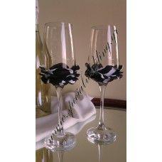 Ποτήρι σαμπάνιας γάμου Μαύρο και άσπρο τριαντάφυλλο Champagne glass Black and white rose