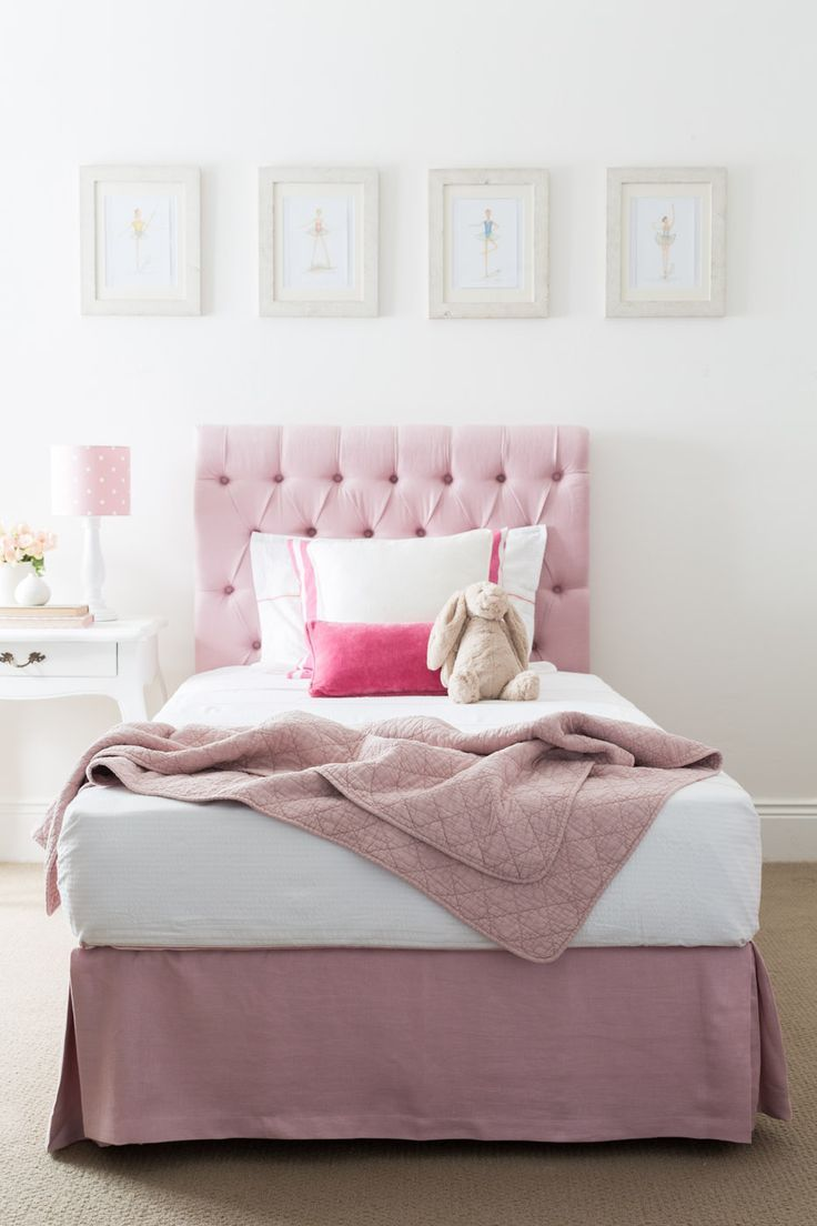Pink Bedside Table: Pink Linen Buttoned Bedhead And Valance, French Style