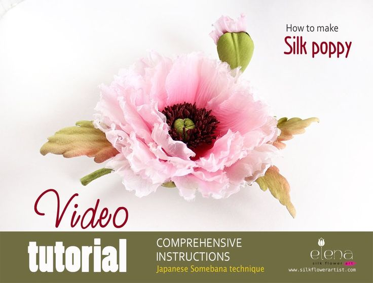 Video tutorial how to make silk poppy in japanese somebana techniques ❤ https://www.youtube.com/watch?v=b6vcUZk1OVA