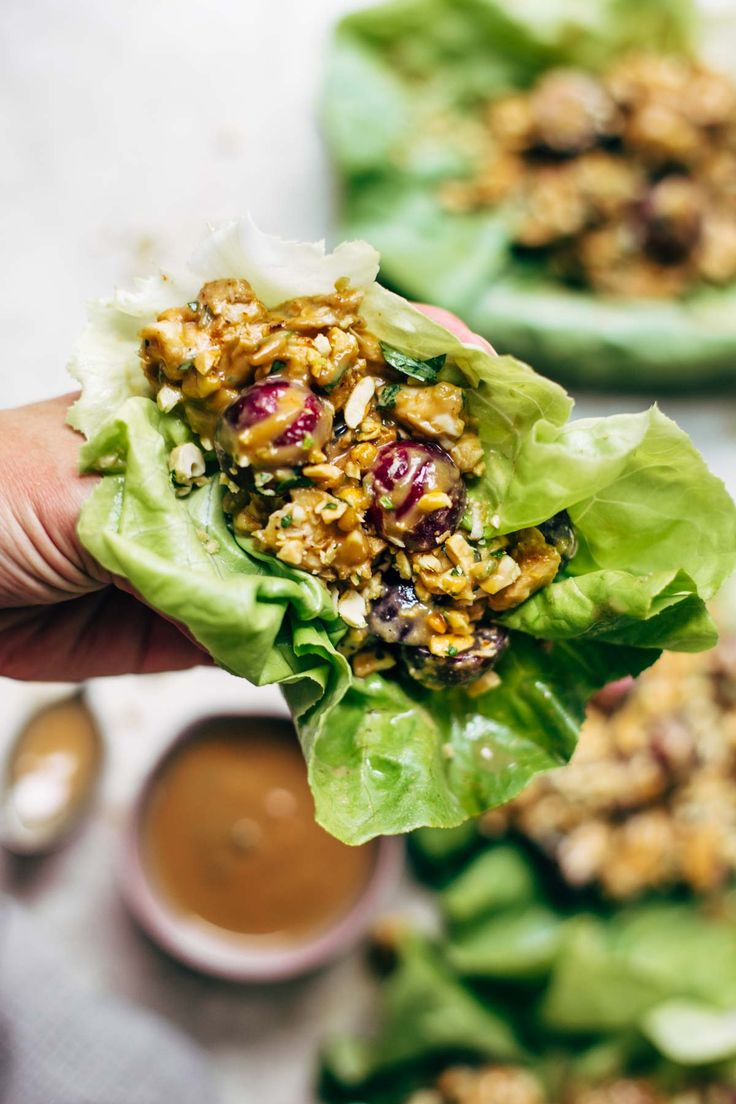 Creamy Miso Peanut Chicken Lettuce Wraps - a fresh, crunchy, salty-sweet recipe that makes to-die-for healthy lunches or dinners!   pinchofyum.com