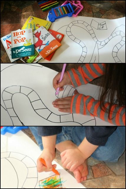 Make your own Dr Suess Board Game for kids! #DrSuess #games #kids