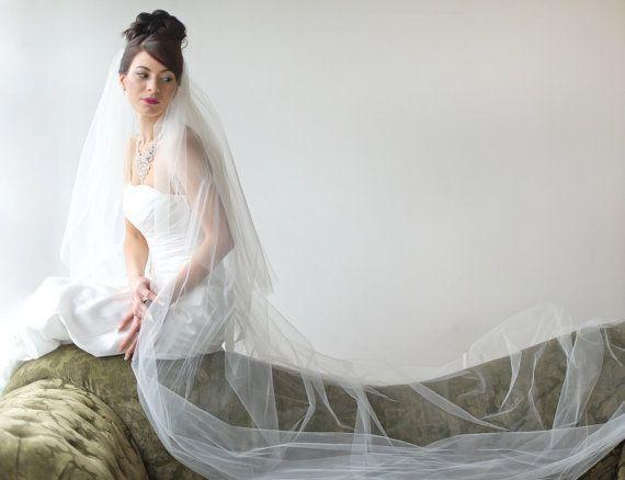 Bridal Veil Traditional Veil  Two Layer by PowderBlueBijoux