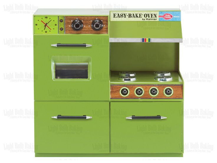 This is an original photo of an Easy-Bake Oven. Taken from the book, Light Bulb Baking: A History of the Easy-Bake Oven by Todd Coopee.  This was the first Easy-Bake Oven released with Betty Crocker branding. I love this green.   #lightbulbbaking #easybakeoven
