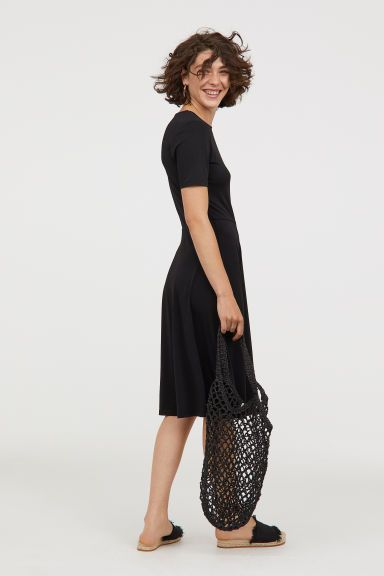 9640971f9ea Black is timeless, cotton material looks comfy, short sleeves are work  appropriate, and the hem length is long enough.