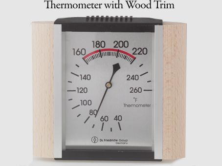 Sauna thermometer with a wood trim #wood #design #sauna #temperature #heat